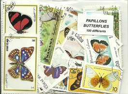 "100 timbres thematique ""papillons"""