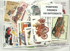 "100 timbres thematique "" Pompiers"""