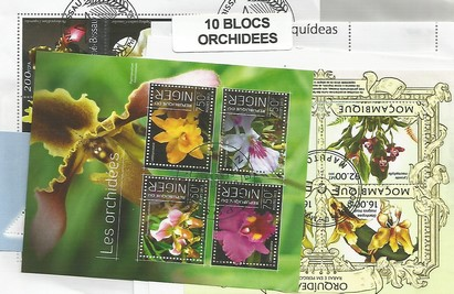 "10 blocs thematique "" Orchidées"""