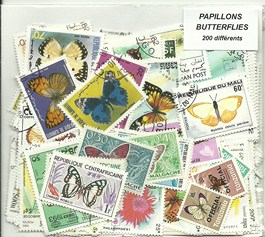 "200 timbres thematique ""Papillons"""