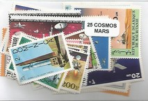 "Lot de 25 timbres thematique ""Planete Mars"""