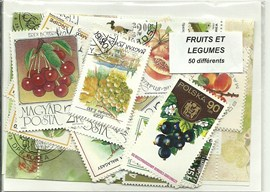 "50 timbres thematique "" Fruits"""