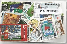 Lot de 50 timbres de Guernesey