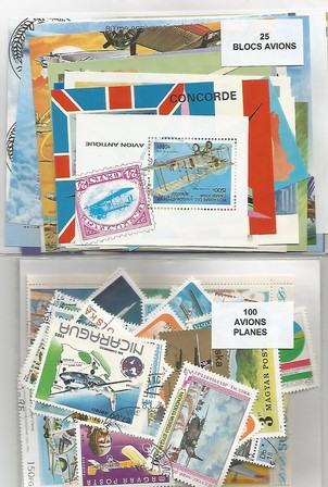 "Lot timbres et blocs thematique "" Avions"""