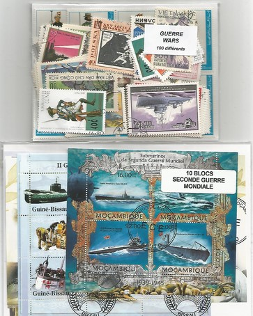 "Lot timbres et blocs thematique "" Guerre """