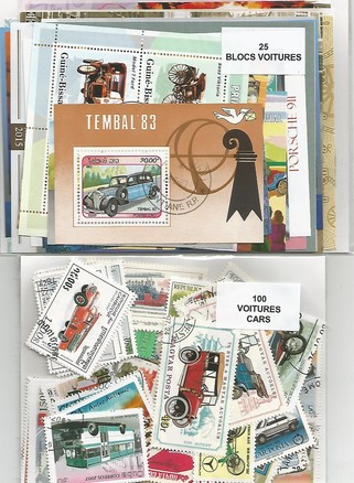 "Lot timbres et blocs thematique "" autos"""