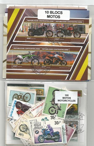 "Lot timbres et blocs thematique "" Motos"""