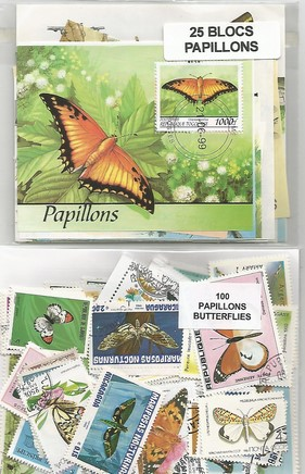 "Timbres et Blocs thematique ""papillons"""