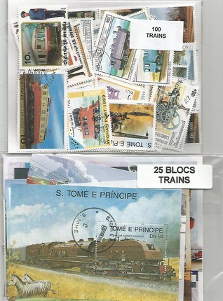 "Lot timbres et blocs thematique "" Trains """